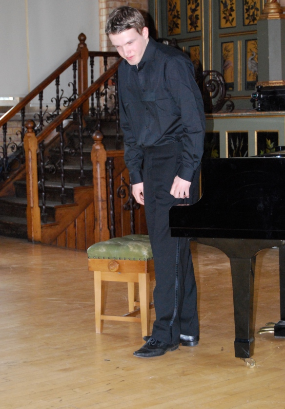 Pianist Stephen Gott taking a bow after his performance at Normansfield Theatre, May 2012